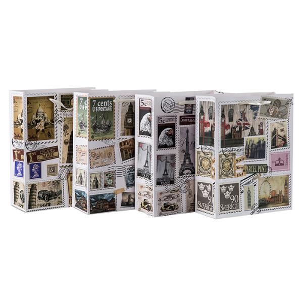 Estampilla temática vintage bolsas de papel de regalo con 4 diseños surtidos en Tongle Packing