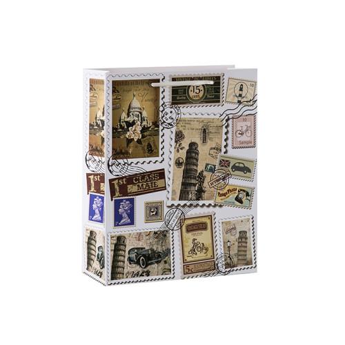 Sacs-cadeaux de papier vintage sur le thème de timbre-poste avec 4 conceptions assorties dans l'emballage de Tongle