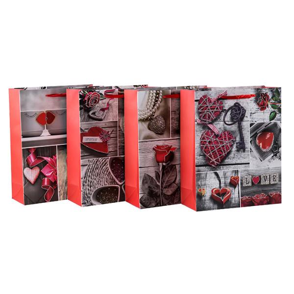 Bolsas de regalo de papel para el día de los enamorados de hearfelt con 4 diseños surtidos en Tongle Packing