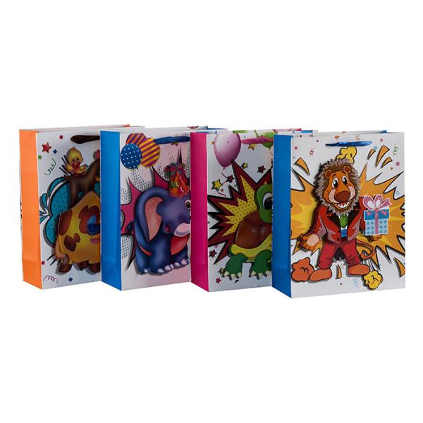 Kinder Lieblings 3D Tiere Papier Geschenktüten mit glitzernden und 4 Designs in Tongle Verpackung sortiert