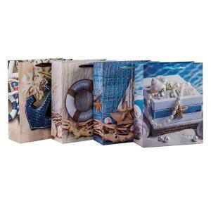 ようこそボードの海の青い海の紙のギフトバッグは、4つのデザインとTongleパッキングで盛り付け