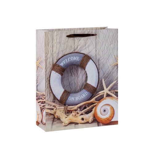 Willkommen an Bord nautisch blauen Ozean Papier Geschenktüten mit 4 Designs in Tongle Verpackung sortiert