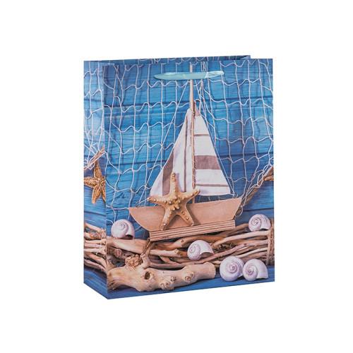 Bienvenido a bordo bolsas de regalo de papel náutico azul océano con 4 diseños surtidos en Tongle Packing