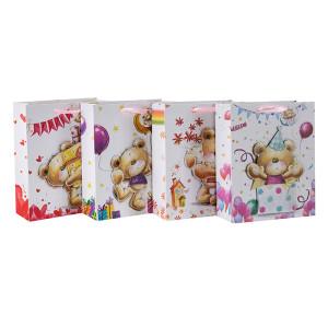 Freihandzeichnen lebhafte kleine Bären 3D und glitzernde Papier Geschenktüten mit 4 Designs in Tongle Packing sortiert