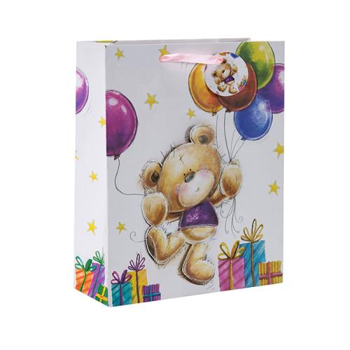 Bocetos a mano alzada pequeños ositos animados Bolsas de regalos de papel en 3D y relucientes con 4 diseños surtidos en embalaje de Tongle