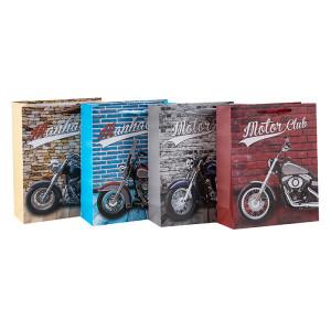 Lieblings-Geschenktaschen der Motorradliebhaber mit hochwertigem Papier und 4 Designs in Tongle-Verpackung