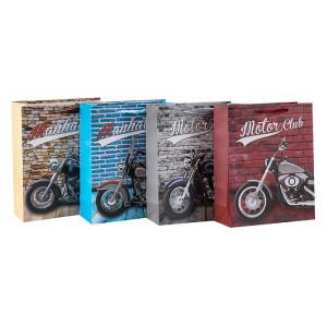 Bolsos de regalo favoritos de los amantes de la motocicleta hechos con papel de alta calidad y 4 diseños surtidos en Tongle Packing
