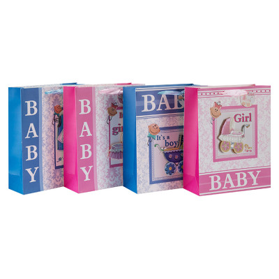 Baby Dusche 3D und Glitter Papier Geschenktüten mit 4 Designs in Tongle Verpackung sortiert