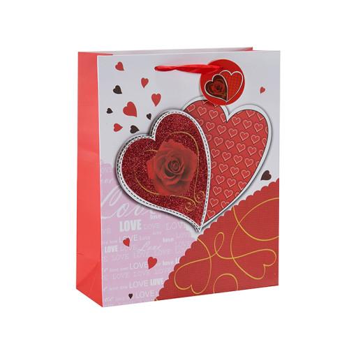 Coeur toucher des sacs-cadeaux de Saint-Valentin 3D et paillettes heureux avec 4 modèles assortis dans l'emballage de Tongle
