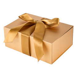 Golden flat packed custom gift boxes in Tongle Packing