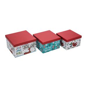 Cajas de regalo de papel cuadradas de Merry Christmas con 3 piezas por juego, tamaños medianos y grandes pequeños en Tongle Packing