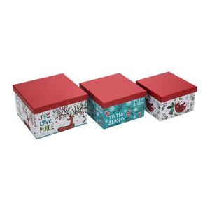 メリークリスマススクエアペーパーギフトボックス3セット1セットあたり小さい中型と大きいサイズのTongleパッキング