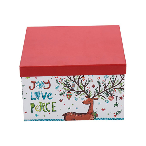 Frohe Weihnachten Quadrat Papier Geschenkboxen mit 3 Stück pro Satz kleine mittlere und große Größen in Tongle Verpackung
