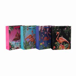 Individuell bedruckte blumige Flamingo-Muster Papiertüten mit 4 Designs in Tongle Verpackung
