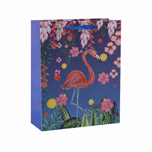 Bolsas de papel impresas aduana del patrón del flamenco florido con 4 diseños clasificados en embalaje de la llave