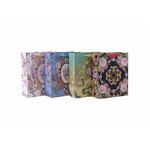 La flor al por mayor impresa recicla el bolso cuadrado inferior del regalo del papel con 4 diseños clasificados en embalaje de la llave