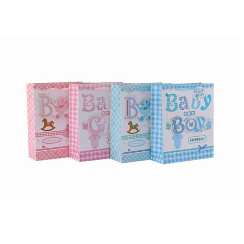 Bolso pequeño del regalo del papel de diversos tamaños del bautismo del regalo del bebé del boutique con 4 diseños clasificados en el embalaje de la llave