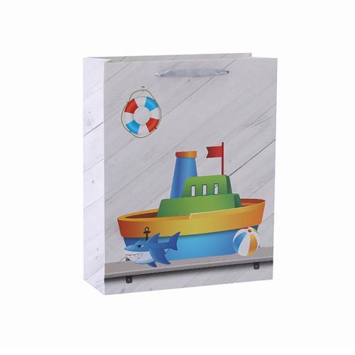 Bolso encantador del regalo del papel de las compras del nuevo bebé del diseño con 4 diseños clasificados en embalaje de la llave