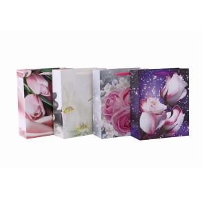 Bolso de papel romántico del regalo del estilo del modelo de la flor del logotipo personalizado por encargo con 4 diseños clasificados en embalaje de la llave