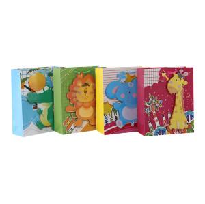 Bolsos de papel lindos del regalo de los animales 3D y del brillo del bebé con 4 diseños clasificados en embalaje de la llave