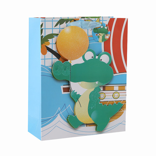 Niedliche Tiere 3D und Glitzer Baby Geschenk Papiertüten mit 4 Designs in Tongle Verpackung sortiert