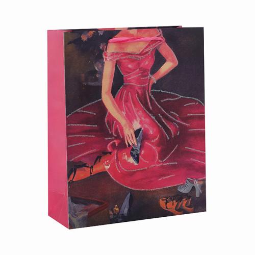 Corazón tocando feliz día de San Valentín 3D y bolsas de regalo brillo con 4 diseños surtidos en Tongle Packing