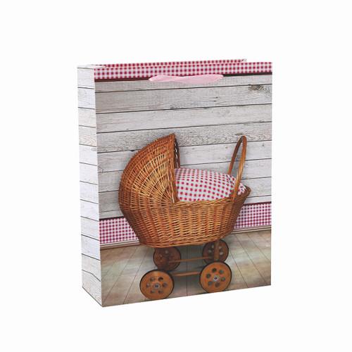 Bolso lindo del regalo del papel del bebé del mejor precio de alta calidad con 4 diseños clasificados en embalaje de la llave