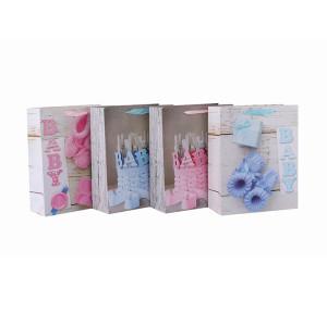 El papel de encargo empaqueta bolsos de la cartulina empaqueta al por mayor la bolsa de la fiesta de cumpleaños para el bebé con 4 diseños clasificados en embalaje de la llave