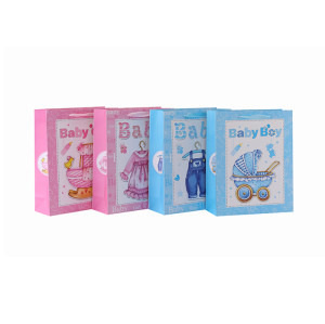 Bolsos de papel de encargo del regalo Bolsas de cartón Bolsos de lujo al por mayor Bolso para el bebé con 4 diseños Surtidos en embalaje de la llave