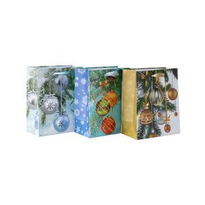 Nueva bolsa de Navidad de papel estilo atractivo en venta con 3 diseños surtidos en embalaje de llave