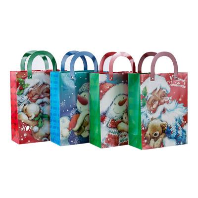 Individuell bedruckte Weihnachtsmann Papier Geschenktüte mit 4 Designs in Tongle Verpackung