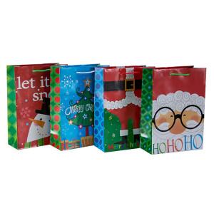 Beau sac d'emballage de cadeau de Noël imprimé offset avec 4 modèles assortis dans l'emballage de Tongle