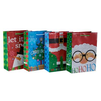 Encantadora bolsa de embalaje de regalo de Navidad impresa en offset con 4 diseños surtidos en Tongle Packing