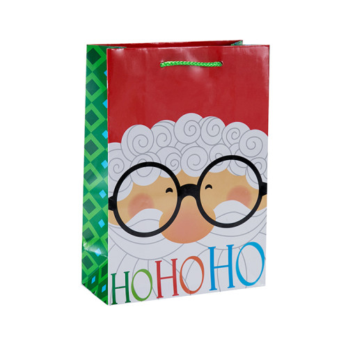 Lovely Offset gedruckt Weihnachtsgeschenk Verpackung Tasche mit 4 Designs in Tongle Verpackung sortiert
