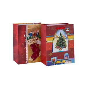 Bolso de papel Bolso de regalo de impresión personalizado Bolso de papel de Navidad de precio de fábrica con 2 diseños surtidos en embalaje de palanca
