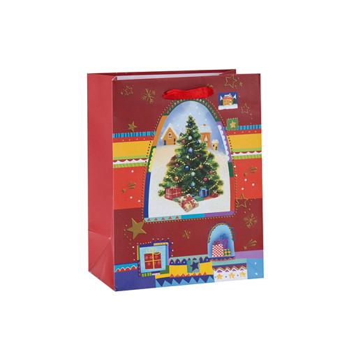 Papiertüte Custom Print Geschenkbeutel Fabrik Preis Weihnachten Papiertüte mit 2 Designs Assorted in Tongle Verpackung