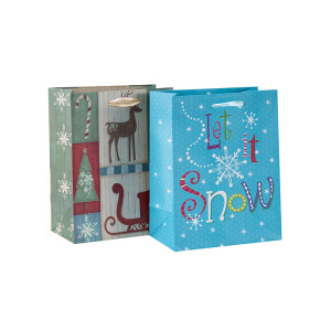 2018ホット販売ファンシーデザインの紙袋クリスマスギフト紙袋卸売業2つのデザインでは、トングパッキングで盛り合わせ