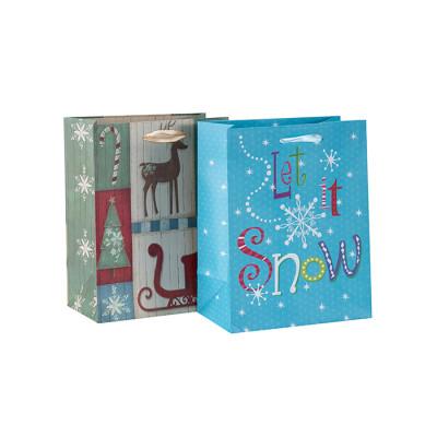 2018 heißer Verkauf Fancy Design Papiertüten Weihnachtsgeschenk Papiertüte Großhandel mit 2 Designs Assorted in Tongle Verpackung