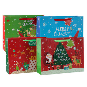 Papier Geschenktüte Luxus Frohe Weihnachten mit 4 Designs in Tongle Verpackung sortiert
