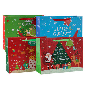 Bolsa de regalo de papel de lujo Merry Christmas con 4 diseños surtidos en Tongle Packing