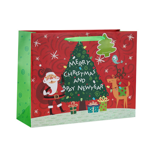 Bolsa de regalo de papel de lujo Merry Christmas con 4 diseños surtidos en Tongle Packing