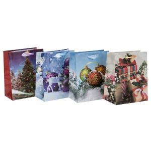 Sac d'emballage de papier de Noël saisonnier de la meilleure qualité imprimée par coutume avec 4 conceptions assorties dans l'emballage de Tongle