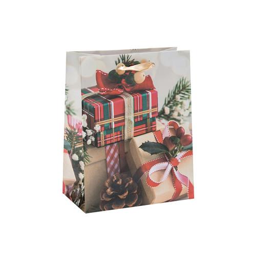 Individuell bedruckte Premium Saison Weihnachtspapier Verpackungsbeutel mit 4 Designs in Tongle Verpackung sortiert