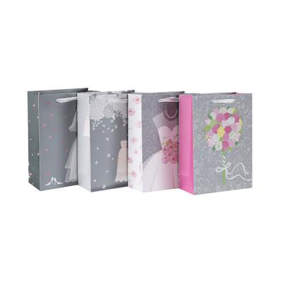 Bolso de papel de lujo del regalo de boda de la cartulina blanca del diseño simple de la venta caliente con 4 diseños clasificados en embalaje de la llave
