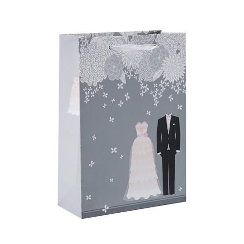 Heißer Verkauf Einfaches Design Weiß Karton Phantasie Papier Hochzeitsgeschenk Tasche mit 4 Designs Assorted in Tongle Verpackung
