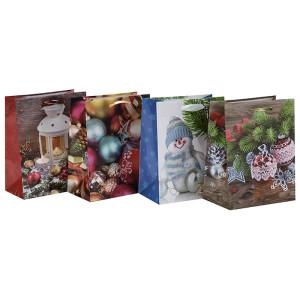 ラブリークリスマスプリントデコレーションギフト紙袋は、4つのデザインとトングパッキングで盛り合わせ