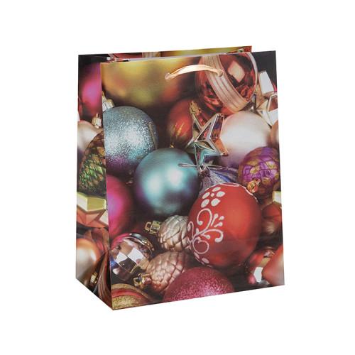 Bonita bolsa de papel de regalo de decoración impresa de Navidad con 4 diseños surtidos en embalaje de llave