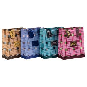 Bolsa de papel de regalo de decoración de cumpleaños de alta calidad con 4 diseños surtidos en embalaje de llave