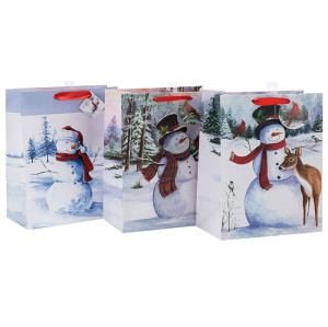 Sac de papier de cadeau de Noël de paillettes de mode avec 4 conceptions assorties dans l'emballage de Tongle