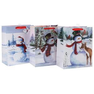 Fashion Glitter Weihnachtsgeschenk Papiertüte mit 4 Designs in Tongle Verpackung sortiert